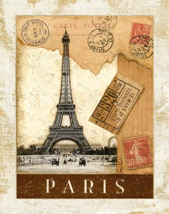 Paris Postmark Eiffel Tower 11x 14