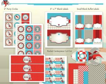 Rocket Ship Spaceship Birthday Party Printables - Complete Party Kit - DIY Print - Blast Off