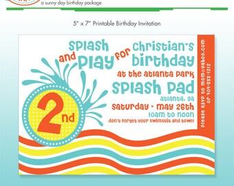 Pool Party Invitation - DIY Printable - Summer Stripes - Beach - Summer