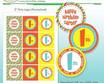 Pool Party Cupcake Toppers - Favor Tags - Printable Birthday Party Logo Package - DIY Print - Summer Stripes - Beach