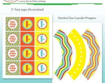 Pool Party Cupcake Kit - Cupcake Wrappers and Printable Birthday Party Logo Package - DIY Print - Summer Stripes - Beach