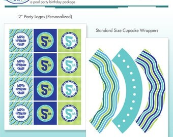 Pool Party Cupcake Kit - Cupcake Wrappers and Printable Birthday Party Logo Package - DIY Print - Summer Stripes - Ocean
