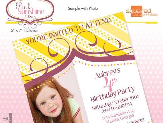 Printable Birthday Party Invitation - Pink Sunshine Printable Invite - DIY Print