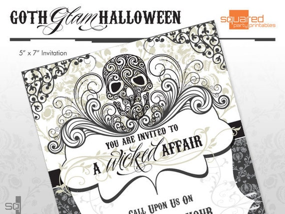 Halloween Party Invitations Goth Glam DIY Printable Do It – Costume Party Invitations Free Printable