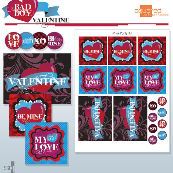 Valentine Party Printables - DIY Printable Package - Bad Boy Valentine's - Do-it-Yourself Print Kit