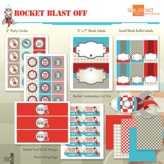 Rocket Ship Spaceship Birthday Party Printables - Complete Party Kit - DIY Print - Blast Off