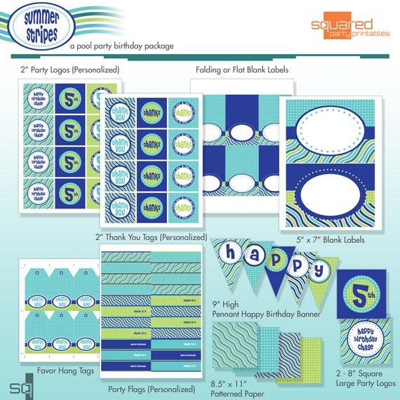 Pool Party Birthday Printable DIY Package - Summer Stripes - Beach Party - Ocean