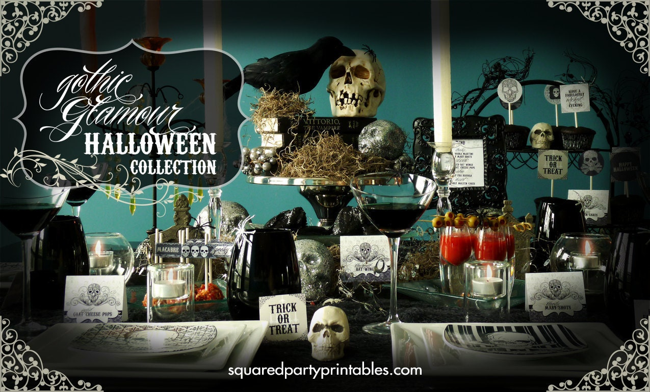 Halloween printable decor goth glam halloween party collection Diy halloween party decorations