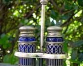 Vintage F. B Rogers Cobalt Blue Glass Silver Plated Salt & Pepper Shaker Set With Silver Holder