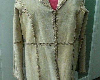 Womans Coat Suede Leather,Knit,Size XL,Tan,Light Brown,Vintage,Recycled,Boho Clothing,Bohemian Coat,Retro Wear,Autumn,Fall,Winter