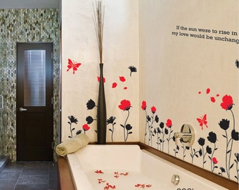 Butterfly and Flower -Wall Decal Vinyl Sticker Art