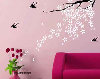 blooming branch wall decal vinyl sticker wall decal white pink flowers wall decal girl children baby - Blooming Plum Branch