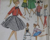 Vintage Barbie and other Teen Dolls Weekend Wardrobe Pattern, Simplicity 4700