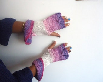White pink knitted wavy half finger light pink dark purple  multi colored patterned oversize fingerless gloves