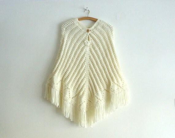 Wool poncho, Knitting poncho, 100% hand made, Ivory Poncho, Knitting Shawl, Poncho, Ivory, Creme, Hand knitted, Bridal,Bride