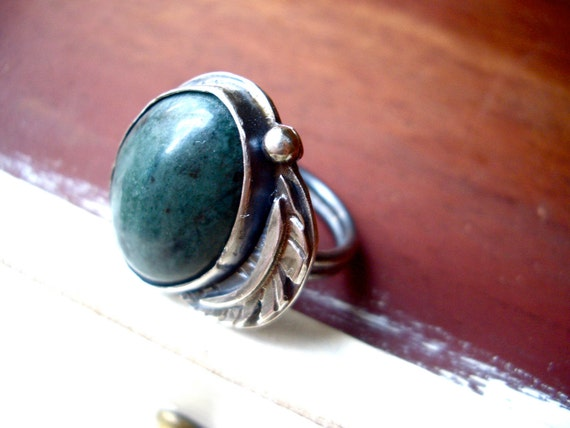 SALE // Lost Stone and Feather Ring in Green Jasper and Sterling Silver (ready to ship in size 7.5)