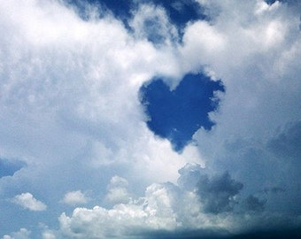 Heart Shaped World - Clouds Sky Blue - Digital Photo image