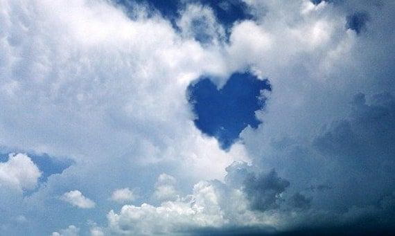 Heart Shaped World Clouds Sky Blue Digital Photo Image