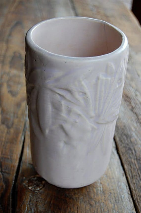Nelson McCoy Butterfly Pattern Vase from 1930's-40's in Light Purple Pink