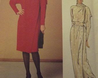 Vintage Vogue Designer Dress Pattern, John Anthony, Wrap Dresses, Long Gown, Loose Fitting, Vintage 80s, Size 12, Uncut Vogue 1226