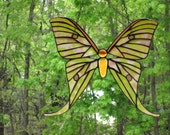 White Green Violet and Gold Stained Glass Australian Luna Moth Window Hanging Suncatcher Window Art