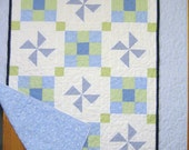 Ryan - Blue and Green Seersucker and Gingham Crib Quilt