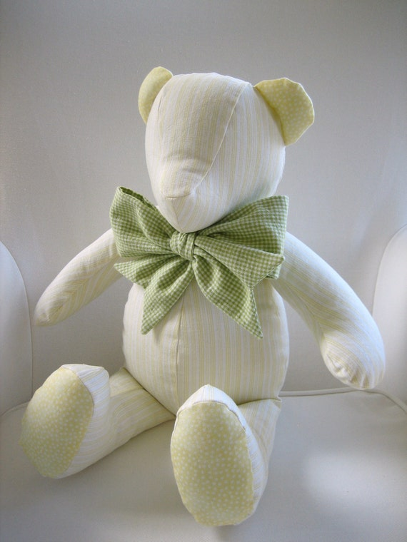 Reese - Yellow Ticking Stripe Teddy Bear using fabric from the Wendy Bellissimo Honey Bee Bedding Collection
