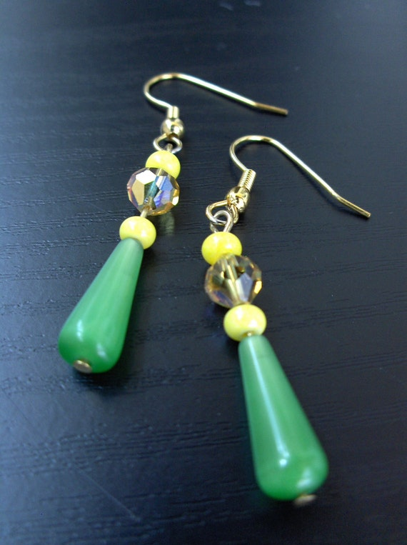 Green Cats Eye and Yellow Crystal Earrings