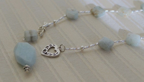 Raw Blue Aquamarine and Silver Beaded Necklace