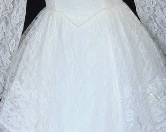Cotton Candy White Bridal Wedding Dress Union Label size 6-8