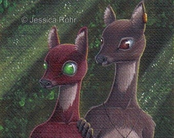 ACEO Fantasy Art Print- Don't Even Whisper - Limited Edition Print - Fantasy Anthro Deer Art