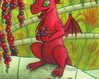 ACEO Fantasy Art Print- Fruit Twist - Limited Edition Print - Fantasy Dragon Art