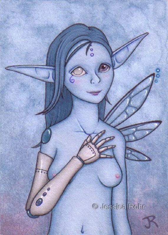 ACEO Fantasy Art Print- Modified - Limited Edition Print - ATC Fantasy Steampunk Elf Art
