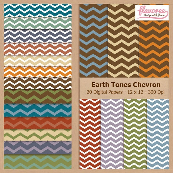 Digital Scrapbook Paper Pack - CHEVRON PATTERN - Earth Tones - Instant Download