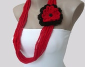 Chain Scarf, Crochet  Necklace, Red and Black Infinity Scarf, Chunky Necklace, Crochet scarf,  Infinity scarf, Lariat,  Crochet Jewelry