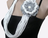 White and Gray  Infinity Scarf, Chunky Necklace, Chain Scarf, Crochet Necklace, Crochet scarf, Infinity scarf, Lariat, Crochet Jewelry