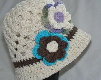 Crochet Cloche Hat Girls Accessories Winter Accessories Beanie Flower Hat