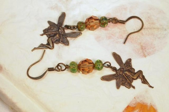 Whimsical Fairy Charms, Brass Beaded Pierced Earrings. OOAK Handmade earrings.