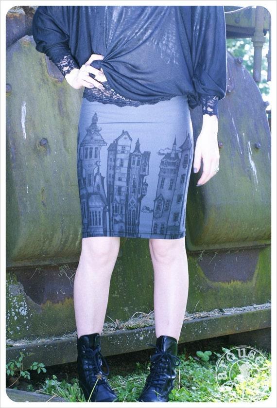 50 % OFF - Skirt - Printed skirt - Grey Mini skirt - Slate Grey Pencil Skirt - MEDIUM