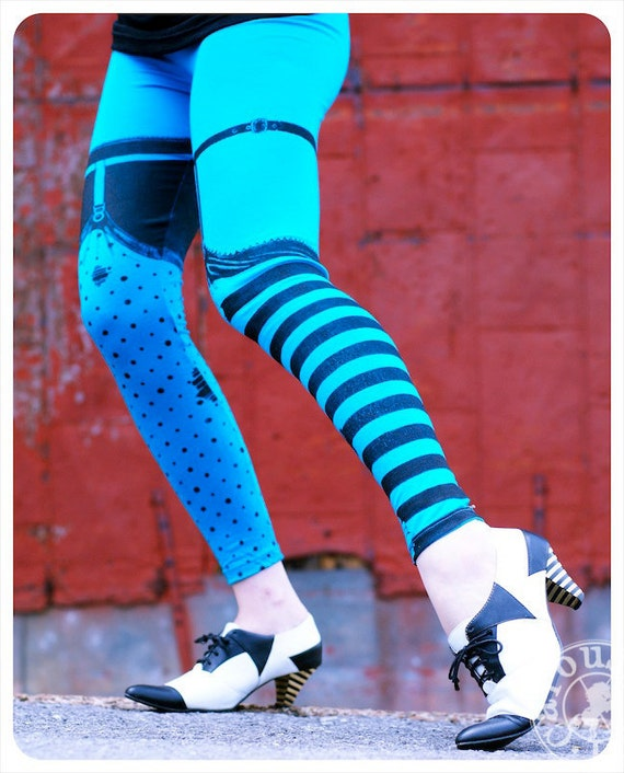 Pippi Leggings - Electric Blue and black Striped Legging Polka Dot Legging  - Legging - LARGE Legging Womens Tights