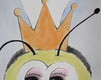 Queen Bee Portrait - 6 x 8 Illustration Print