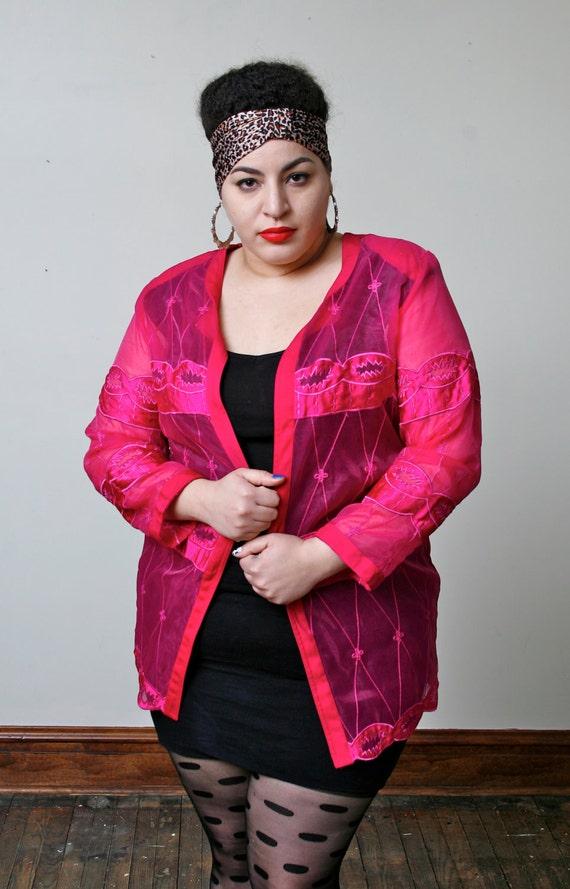 1980's Sheer Pink Jacket / Plus Size Size XL