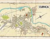 Vintage City Map of Cuenca Spain 1950s Street Plan Mid Century Modern