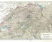 1930s Vintage Map of Switzerland