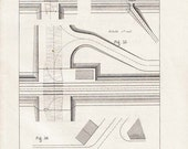 1872 French Technical Drawing Railroads Antique Wall Art