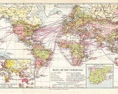 Vintage World Map Trade Routes and Communications 1920s Long
