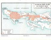 San Juan Puerto Rico Port Vintage  Plan 1920s  City Map