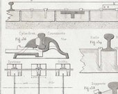 Railroad supports 1872 French Antique Technical Drawing, Machines, CIvil Engineering