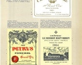 1969 French Wines Labels Print, Sauternes, Pomerol, Graves