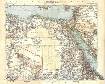 North Africa Vintage Map 1912 Eastern Sahara